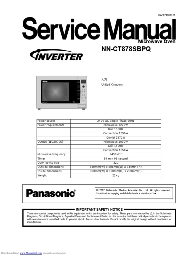 medium resolution of panasonic microwave nnct878 service manual switch power supply grill microwave oven circuit diagram electricalequipmentcircuit