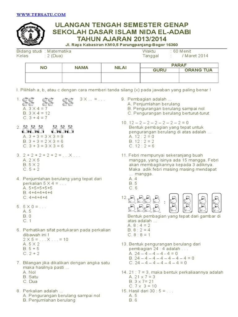 Latihan Soal Matematika Kelas 2 Sd : latihan, matematika, kelas, Contoh, Genap, Matematika, Kelas, Semester