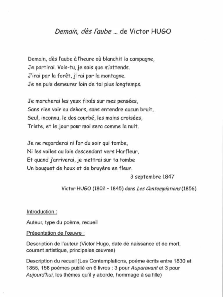 Demain Des L'aube Victor Hugo : demain, l'aube, victor, Poème, Demain, L'aube, Victor