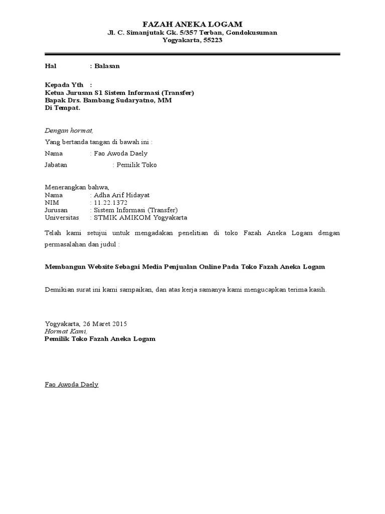 Contoh Surat Balasan Izin Penelitian - Kumpulan Template