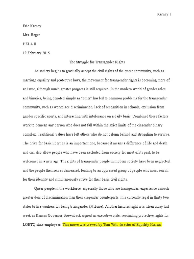 Argumentative Essay Transgender LGBTQ Rights