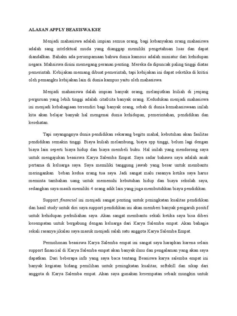 Essay Alasan Memilih Beasiswa Kse