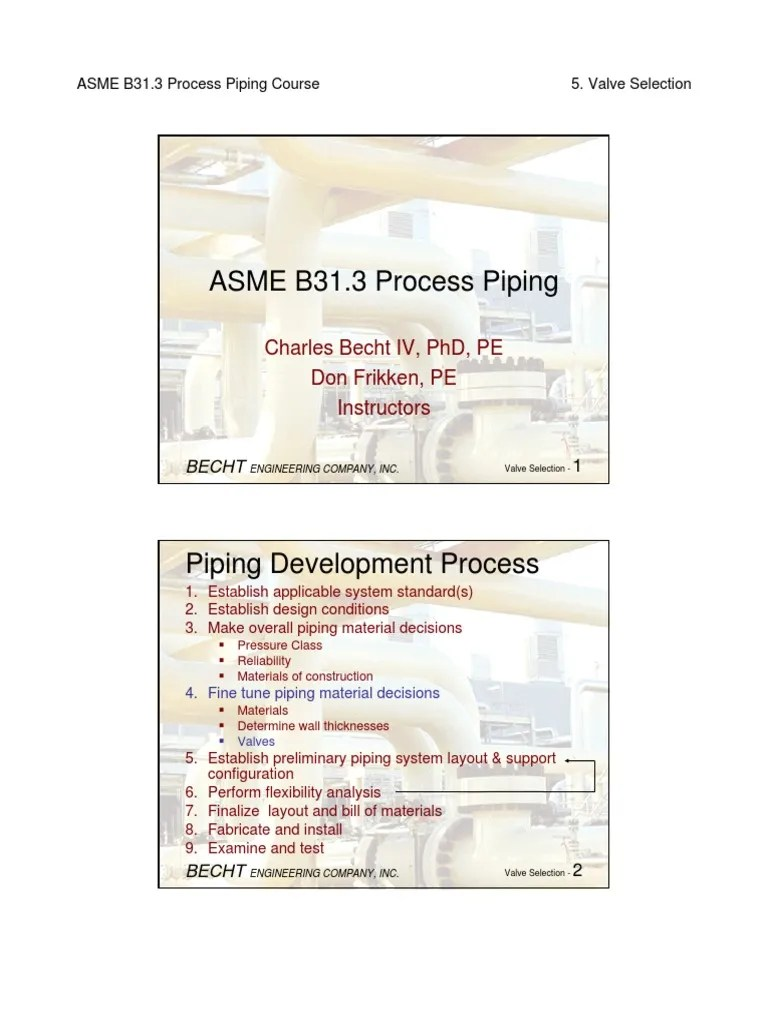 hight resolution of b31 3 process piping course 05 valveselection valve pipe fluid conveyance