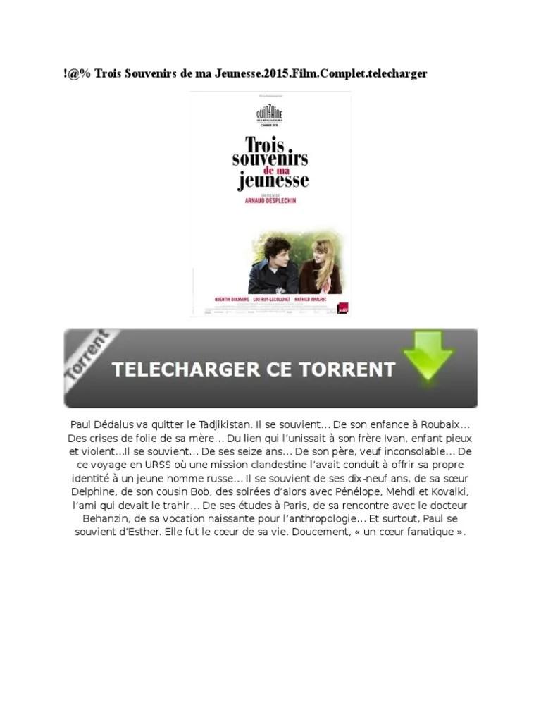 Trois Souvenirs De Ma Jeunesse Torrent : trois, souvenirs, jeunesse, torrent, Trois, Souvenirs, Jeunesse.2015.Film.torrent