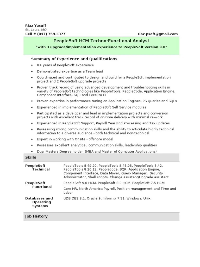 Peoplesoft Functional Resume Riaz Peoplesoft Resume Summary Oracle Database Information