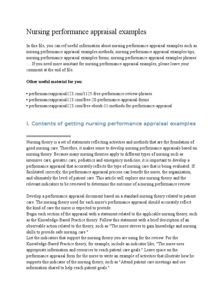 Nursing Performance Appraisal Examples   Performance Appraisal   Nursing