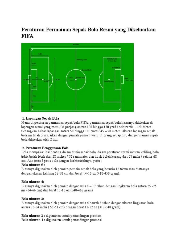 Berat Bola Dalam Permainan Sepak Bola : berat, dalam, permainan, sepak, Peraturan, Permainan, Sepak, Resmi, Dikeluarkan
