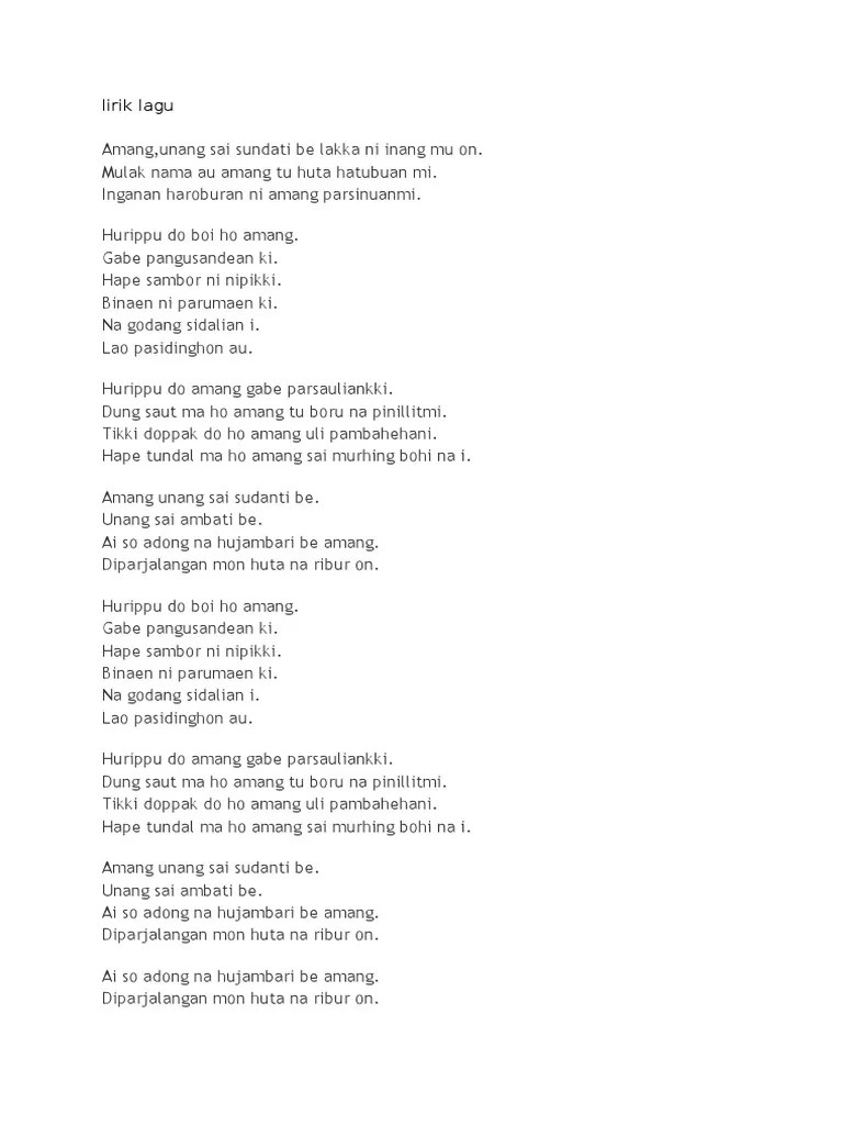 Lirik Patik Palimahon : lirik, patik, palimahon, Lirik, Batak