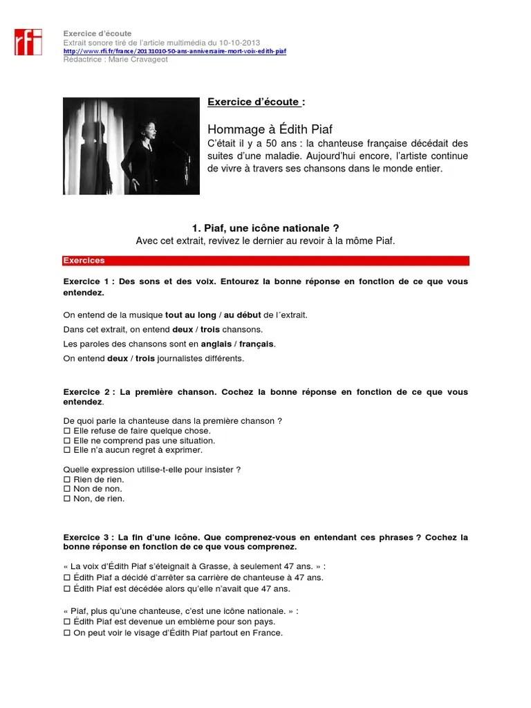 Exprimer Le Regret En Anglais : exprimer, regret, anglais, Piaf,, Icône, Nationale.pdf, Funérailles