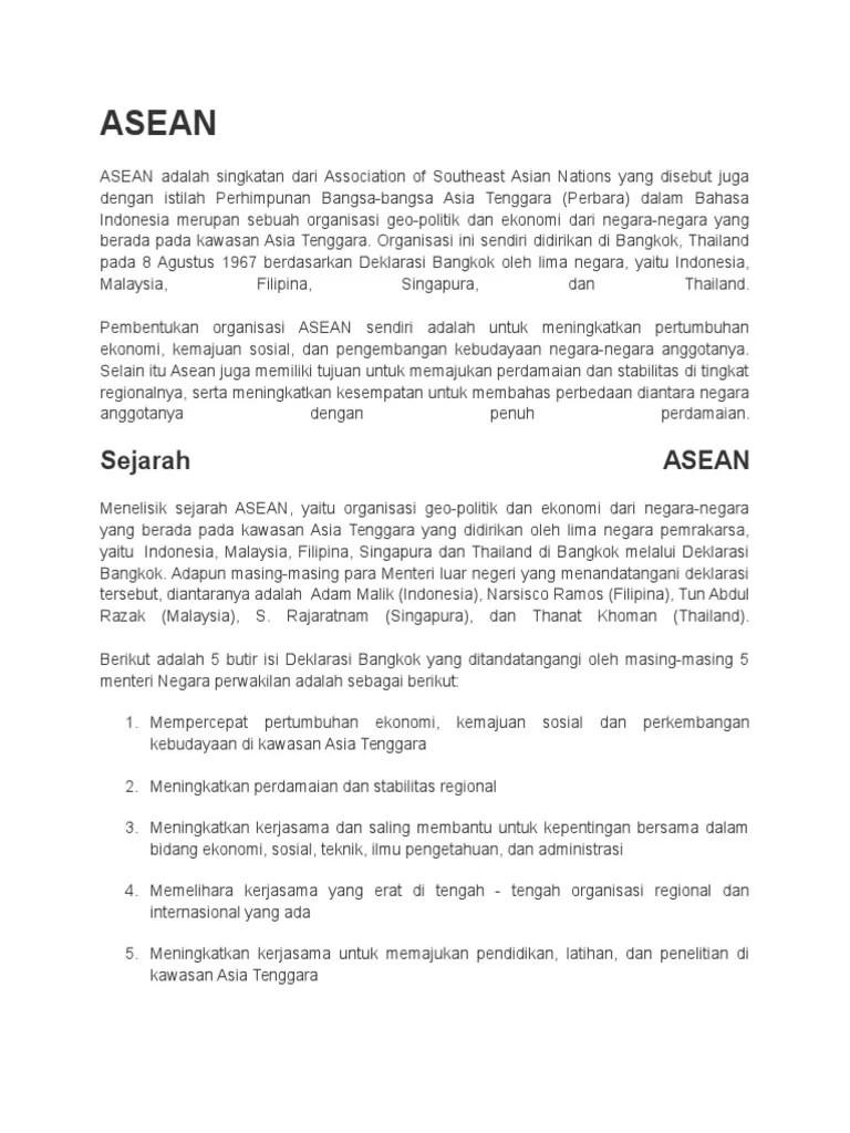Isi Deklarasi Bangkok : deklarasi, bangkok, Sejarah, Asean