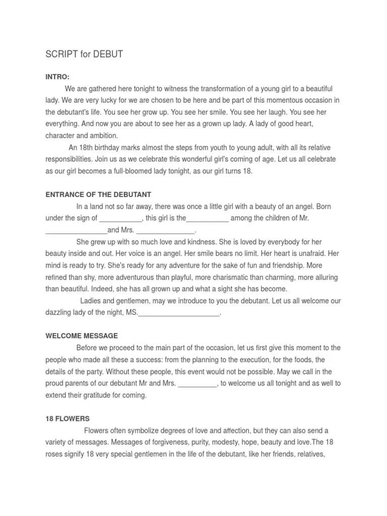 Sample Emcee Script For Party