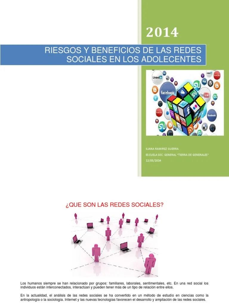 Riesgos Y Beneficios De Las Redes Sociales En Los