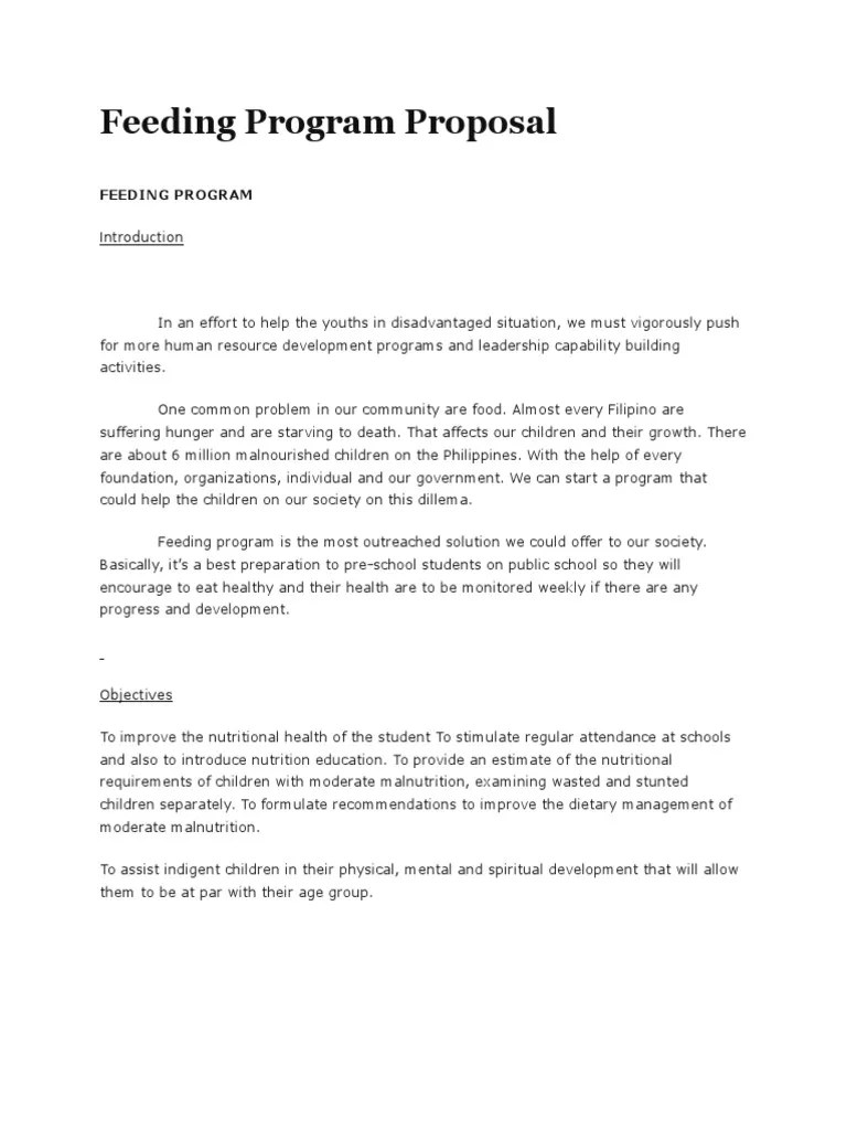 Feeding Program Proposal Malnutrition Eating