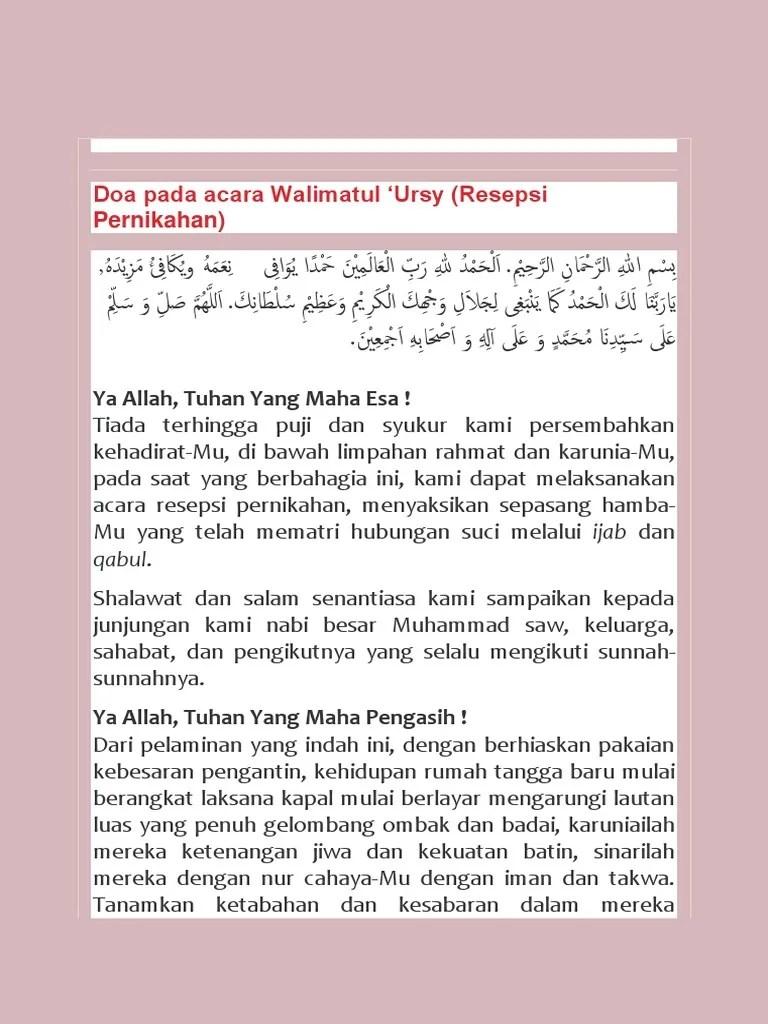 Doa Walimatul Ursy : walimatul, KALAMuslim, Acara, Walimatul, 'Ursy, (Resepsi, Pernikahan).pdf