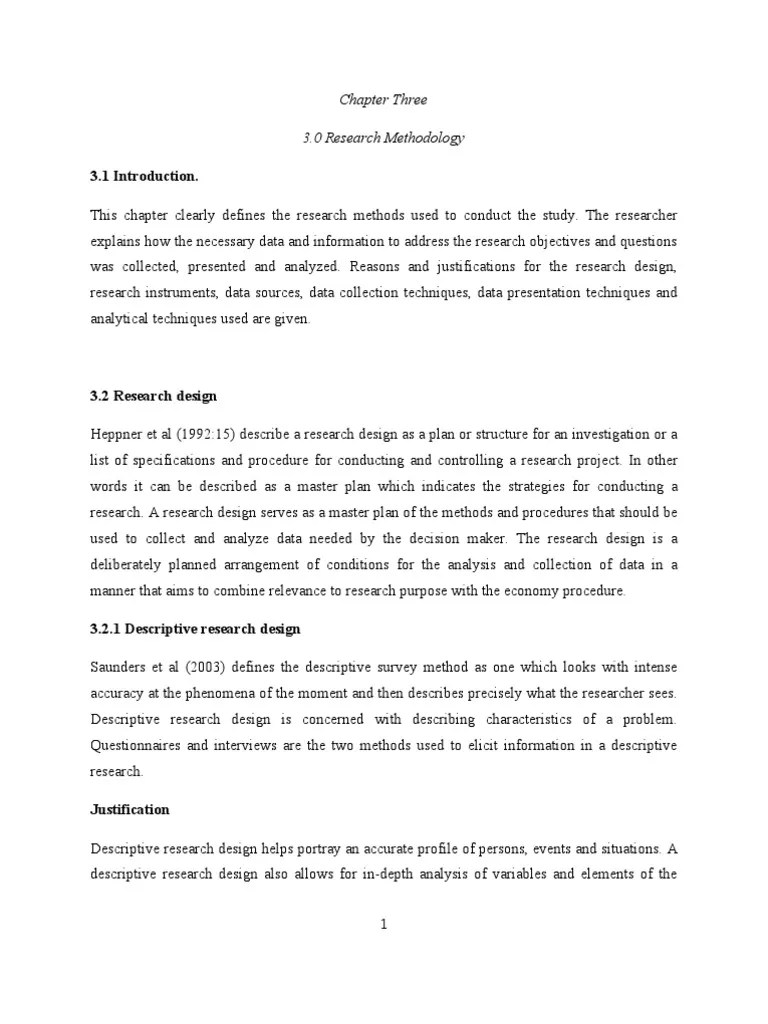 Chapter Three 3 0 Research Methodology 3 1 Introduction