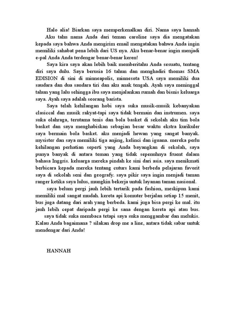 Contoh Surat Perkenalan Diri Untuk Sahabat Pena Dalam Bahasa Inggris Contoh Seputar Surat Cute766