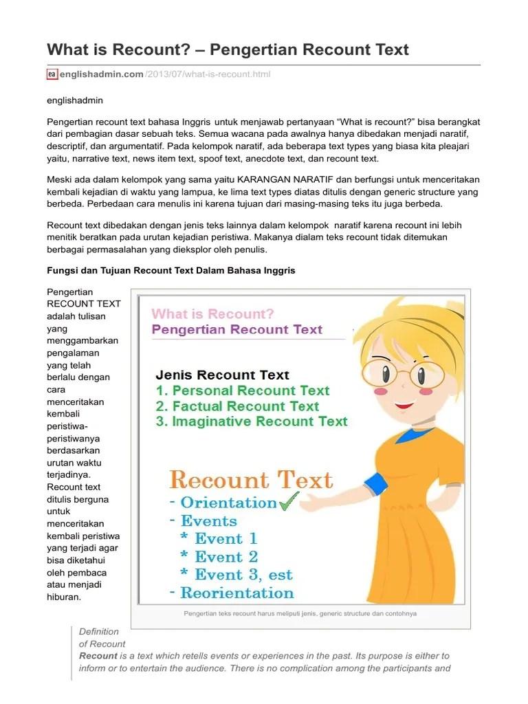 Pengertian Recount : pengertian, recount, Recount, Dalam, Bahasa, Inggris, Cute766