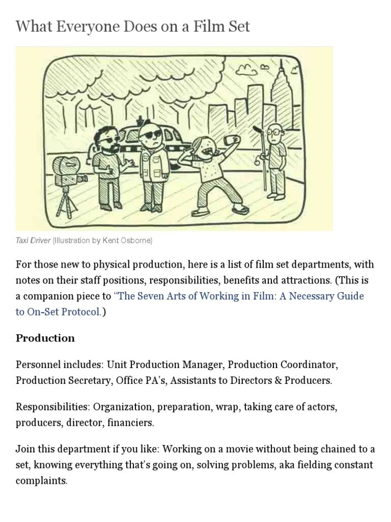 small resolution of what everyone does on a film set filmmaker magazine filmmaking arts general