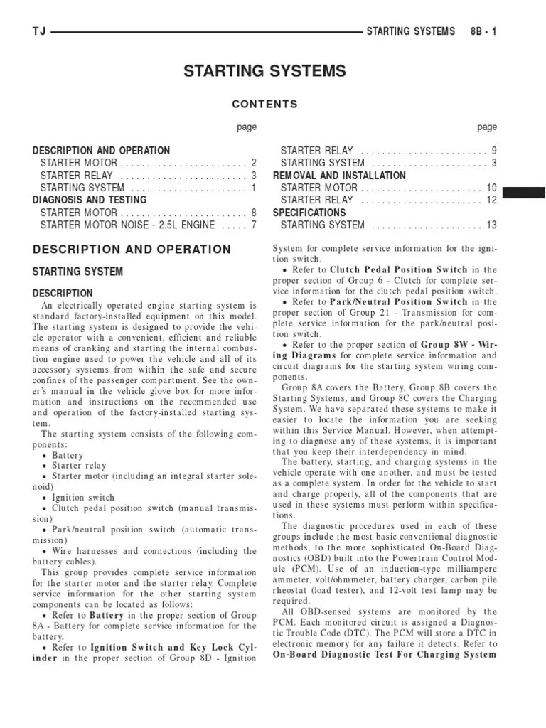 hight resolution of 1999 jeep tj wrangler service manual 08 electrical systems manual transmission relay