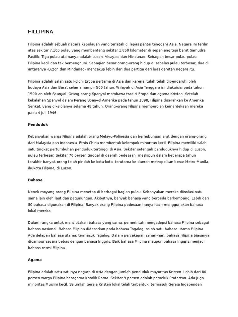 Profil Lengkap Negara Filipina - Kembang Pete