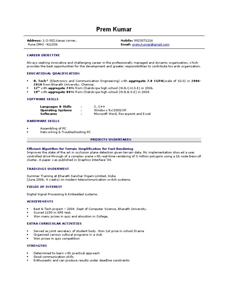 Resume Resume Of Computer Science Engineering Student Wpazo Resume