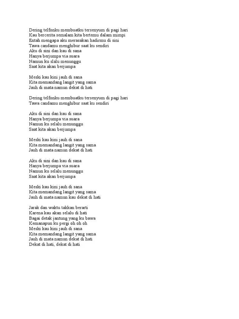 Lirik Lagu Dekat Di Hati : lirik, dekat, Lirik, Dekat