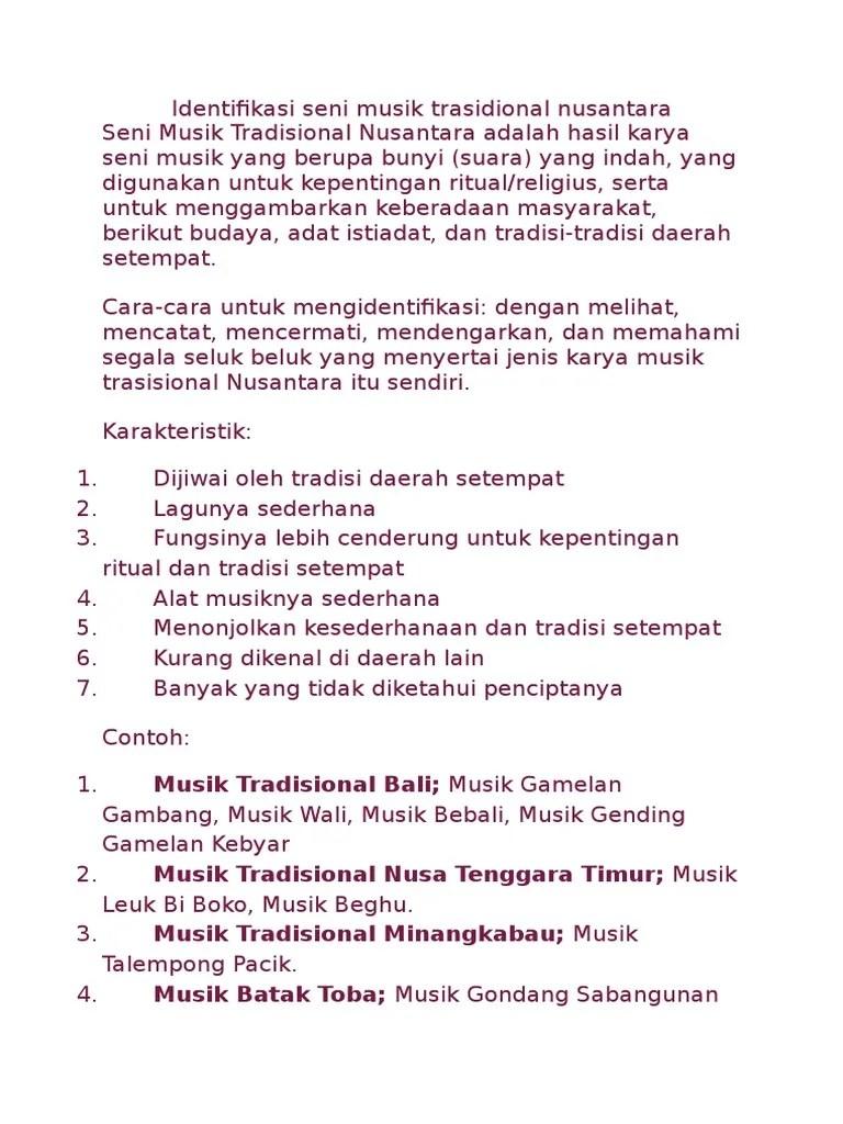 Macam Macam Musik Nusantara : macam, musik, nusantara, Identifikasi, Musik, Trasidional, Nusantara