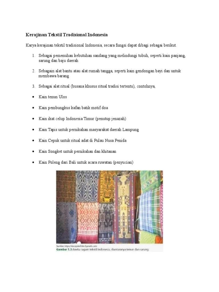 Fungsi Kerajinan Tekstil Tradisional : fungsi, kerajinan, tekstil, tradisional, Kerajinan, Tekstil, Tradisional, Indonesia