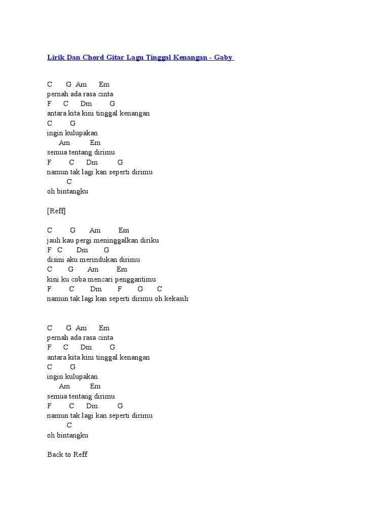 Chord Kunci Gitar Tinggal Kenangan (Videlia) - Chord Kunci