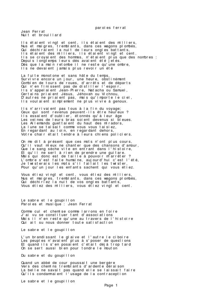 Jean Ferrat La Montagne Paroles : ferrat, montagne, paroles, Paroles, Ferrat, Intégrale, Ardennais, Nature