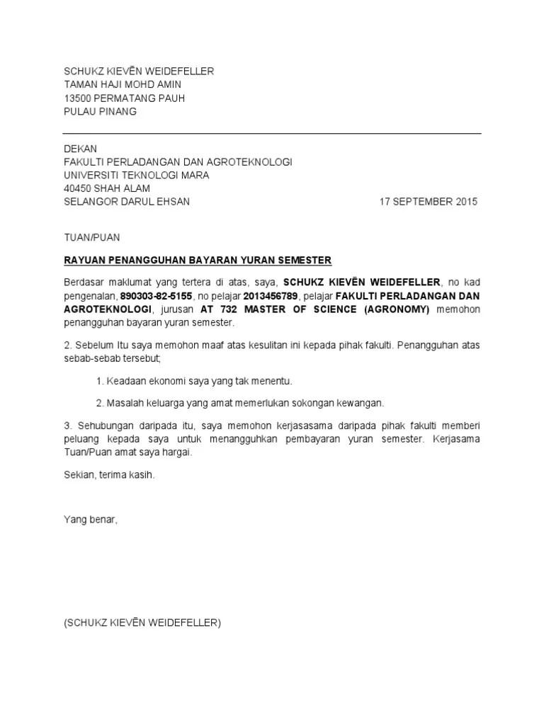 Surat Penangguhan Pembayaran Pinjaman Bank Malaypure