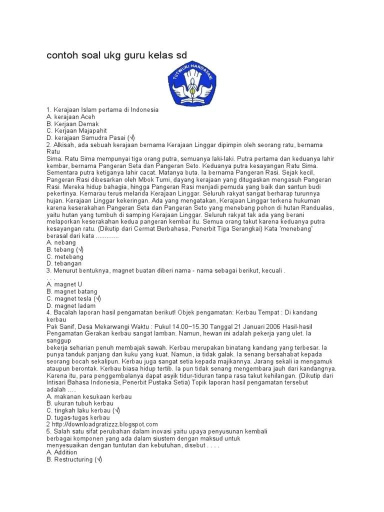 Download Contoh Soal Ukg Guru Sd : download, contoh, Contoh, Kelas, Sd.docx
