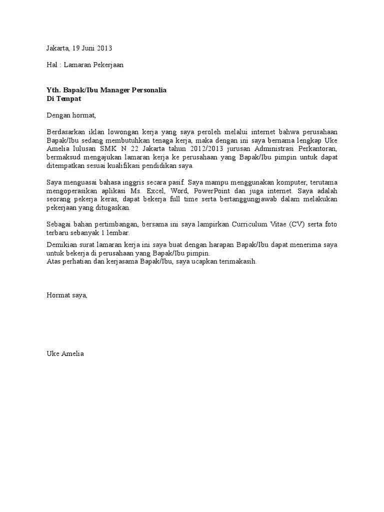 Contoh Surat Lamaran Kerja Lulusan Smk Jurusan Administrasi Perkantoran Cute766