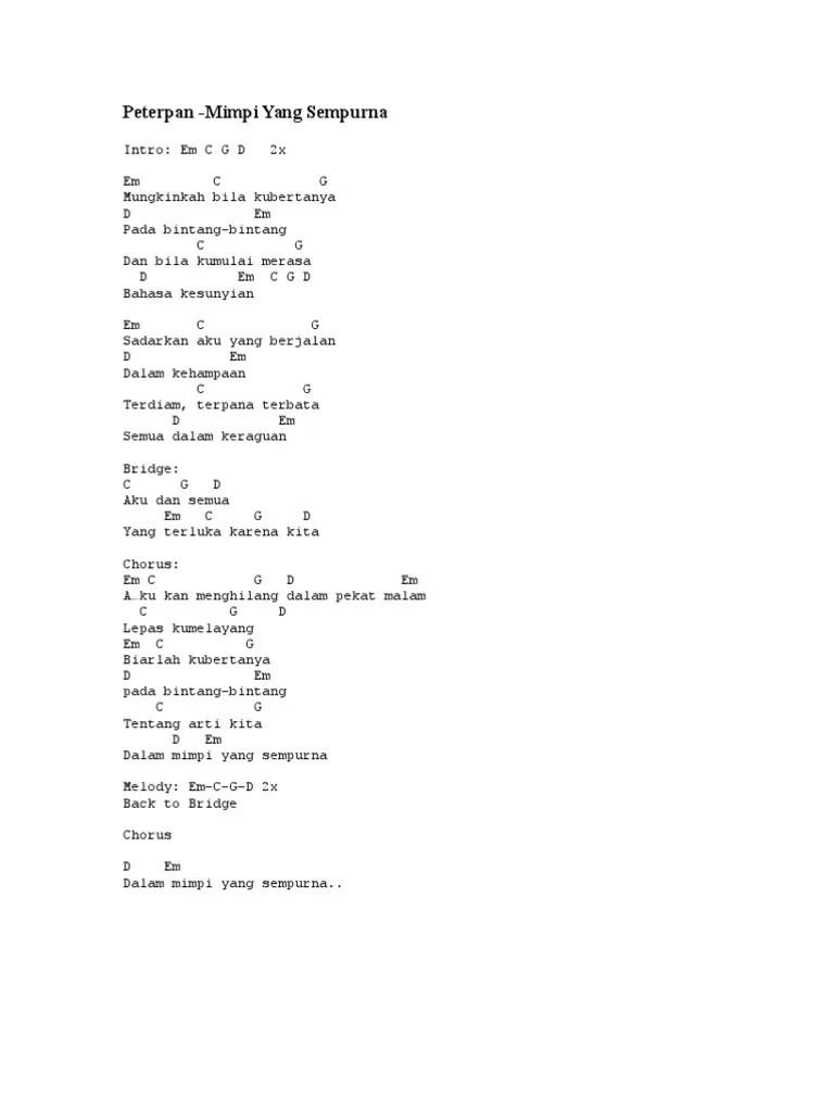 Chord Dalam Pekatnya : chord, dalam, pekatnya, Lirik, Chord, Peterpan, Mimpi, Sempurna