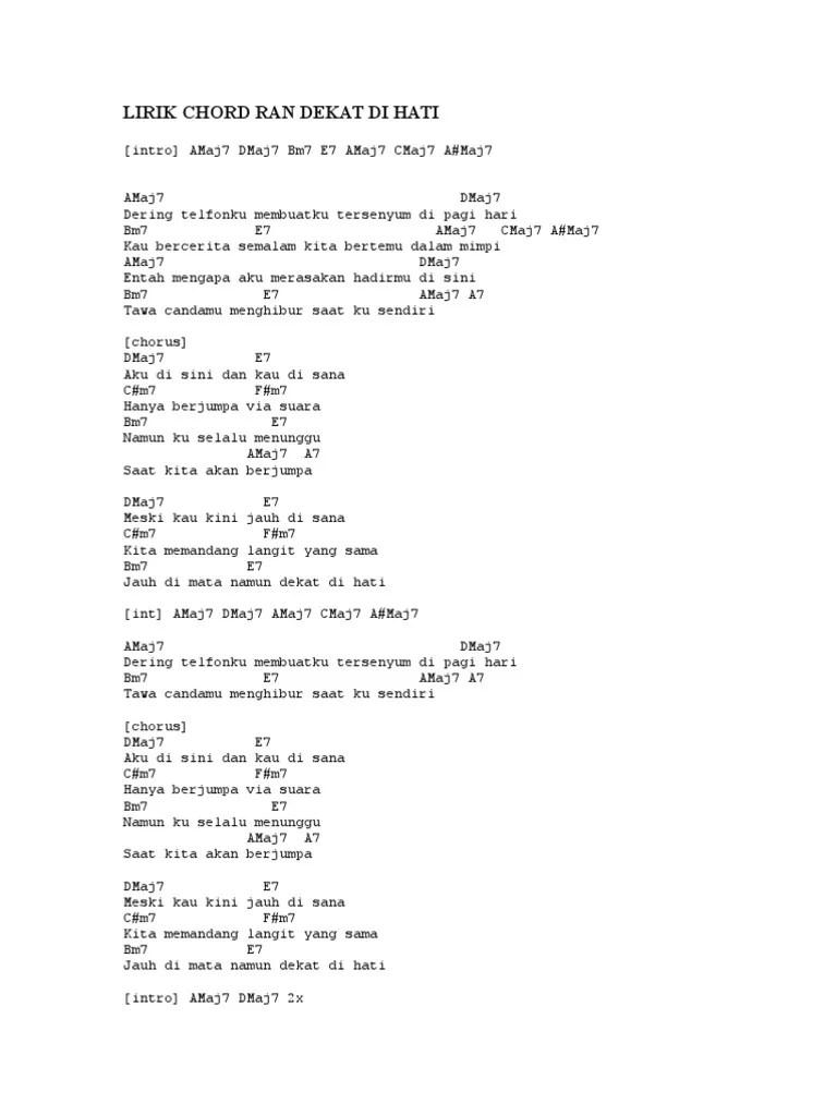 Lirik Lagu Dekat di Hati - Ran [ Best 1 ]