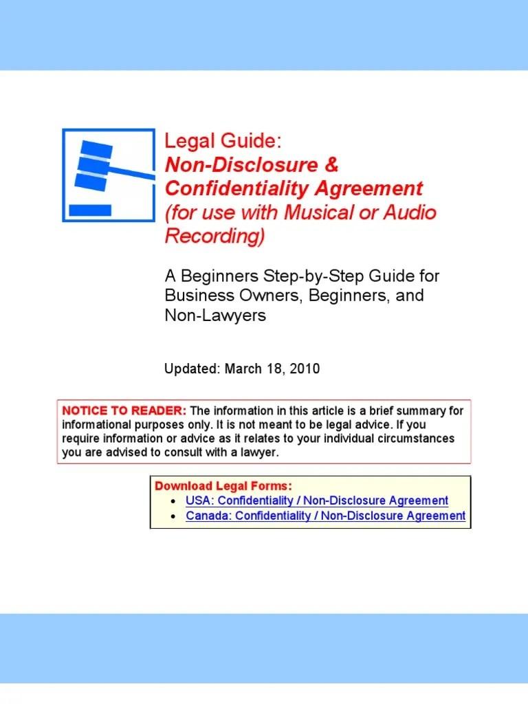 NDA (Musical or Audio Recording) - Legal Guide | Non Disclosure ...