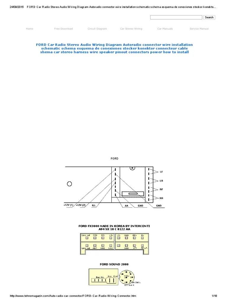 medium resolution of ford car radio stereo audio wiring diagram autoradio connector wire installation schematic schema esquema de conexiones stecker konektor connecteur cable