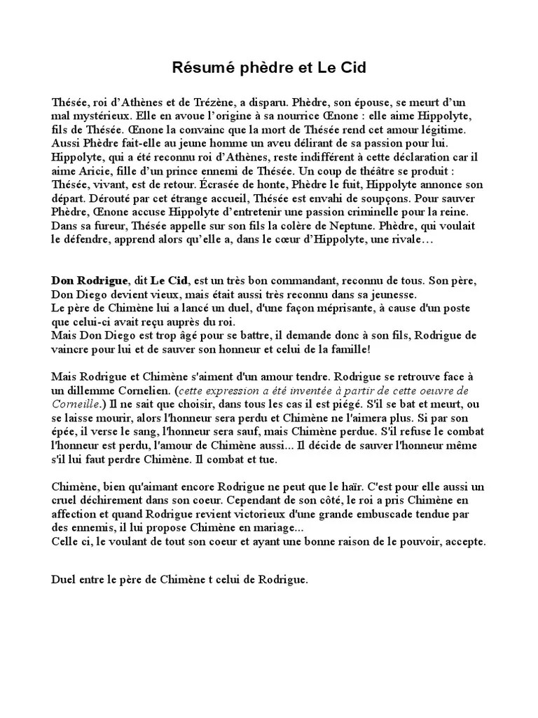 Le Cid De Corneille Résumé : corneille, résumé, Résumé, Phèdre