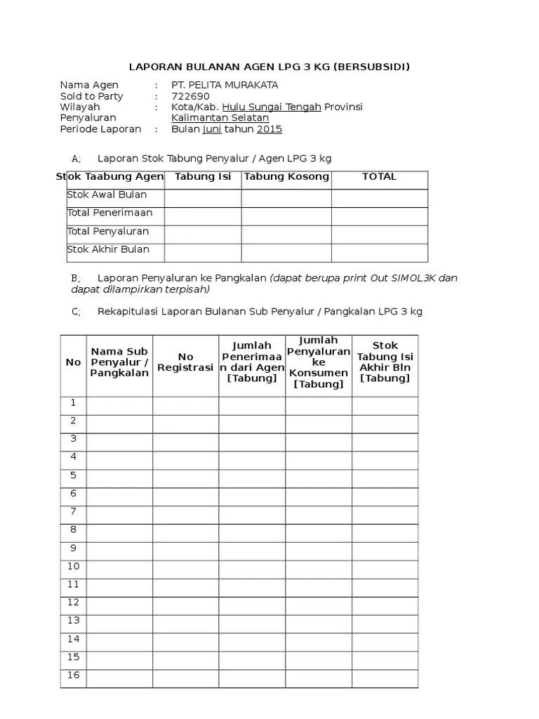 Contoh Laporan Penjualan Bulanan : contoh, laporan, penjualan, bulanan, Contoh, Laporan, Keuangan, Elpiji