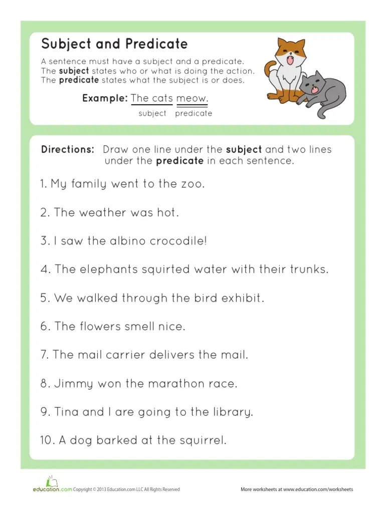 hight resolution of Grammar Basics Subject Predicate