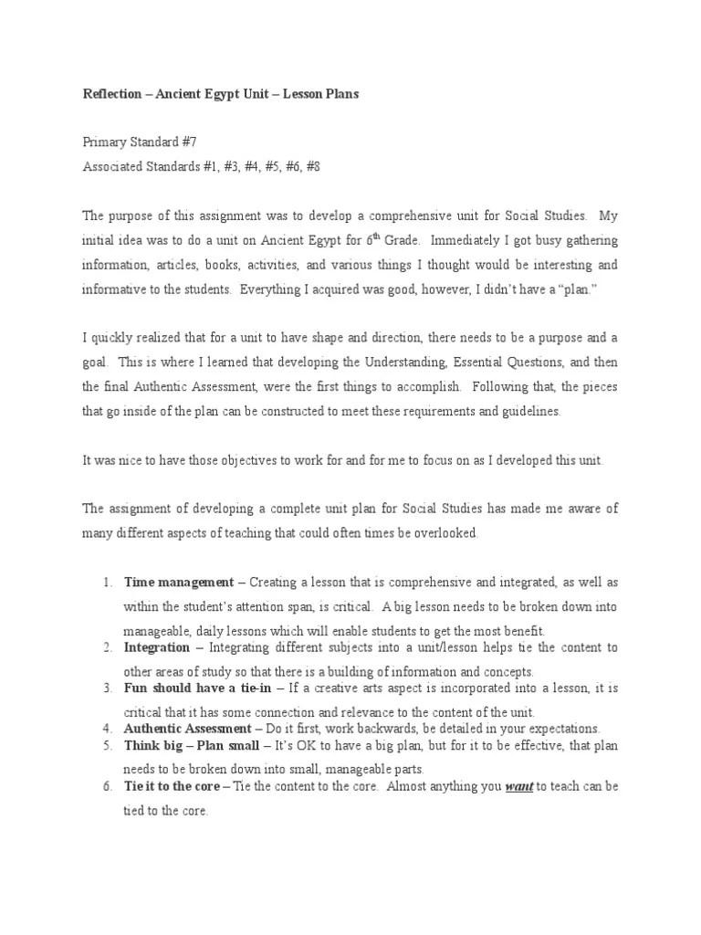 artifact reflection - social studies- 3 - ancient egypt unit   Educational  Assessment   Lesson Plan [ 1024 x 768 Pixel ]