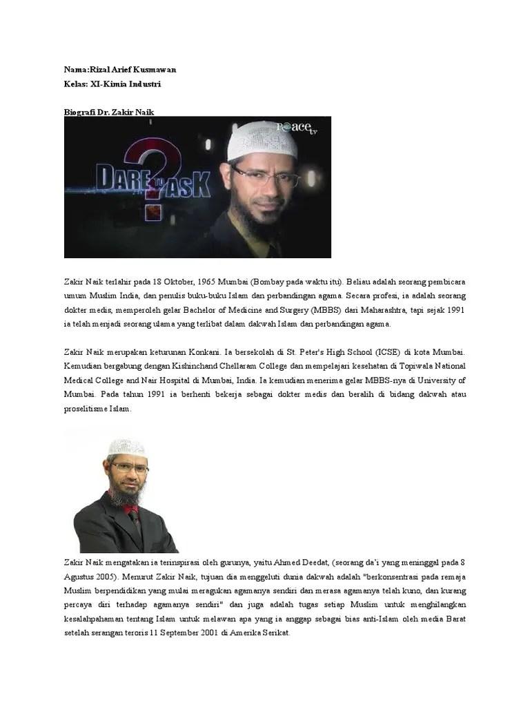 Biografi Zakir Naik : biografi, zakir, Zakir, Biografi.docx
