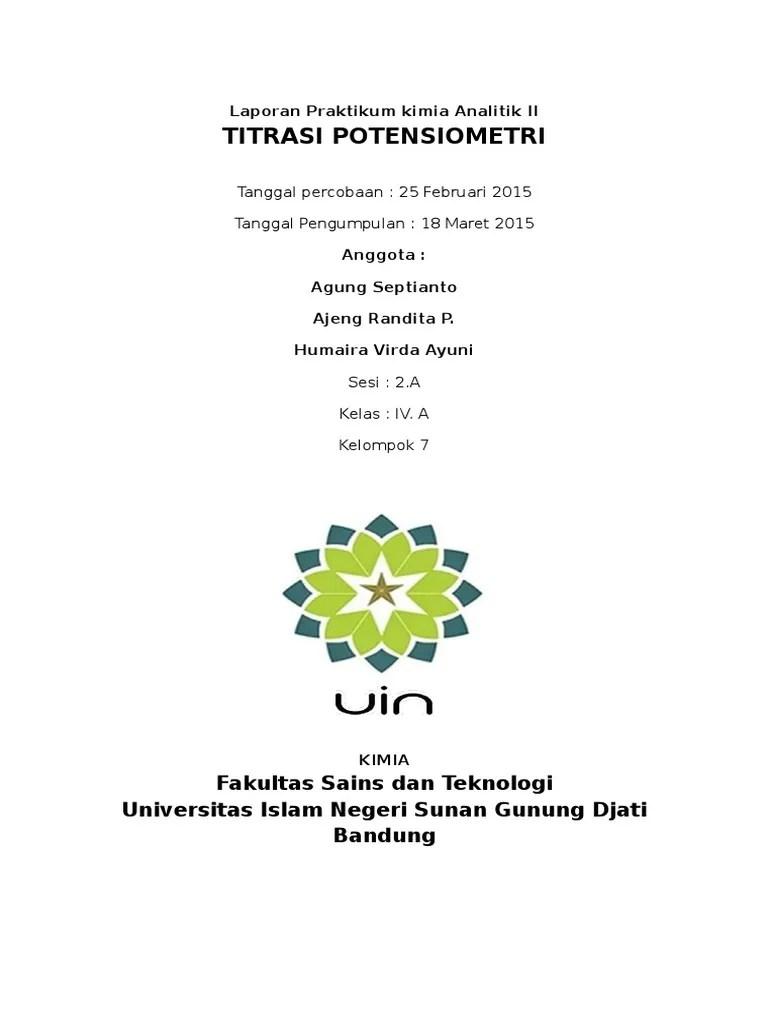 Laporan Praktikum Potensiometri : laporan, praktikum, potensiometri, Humaira, Laporan, Potensiometri