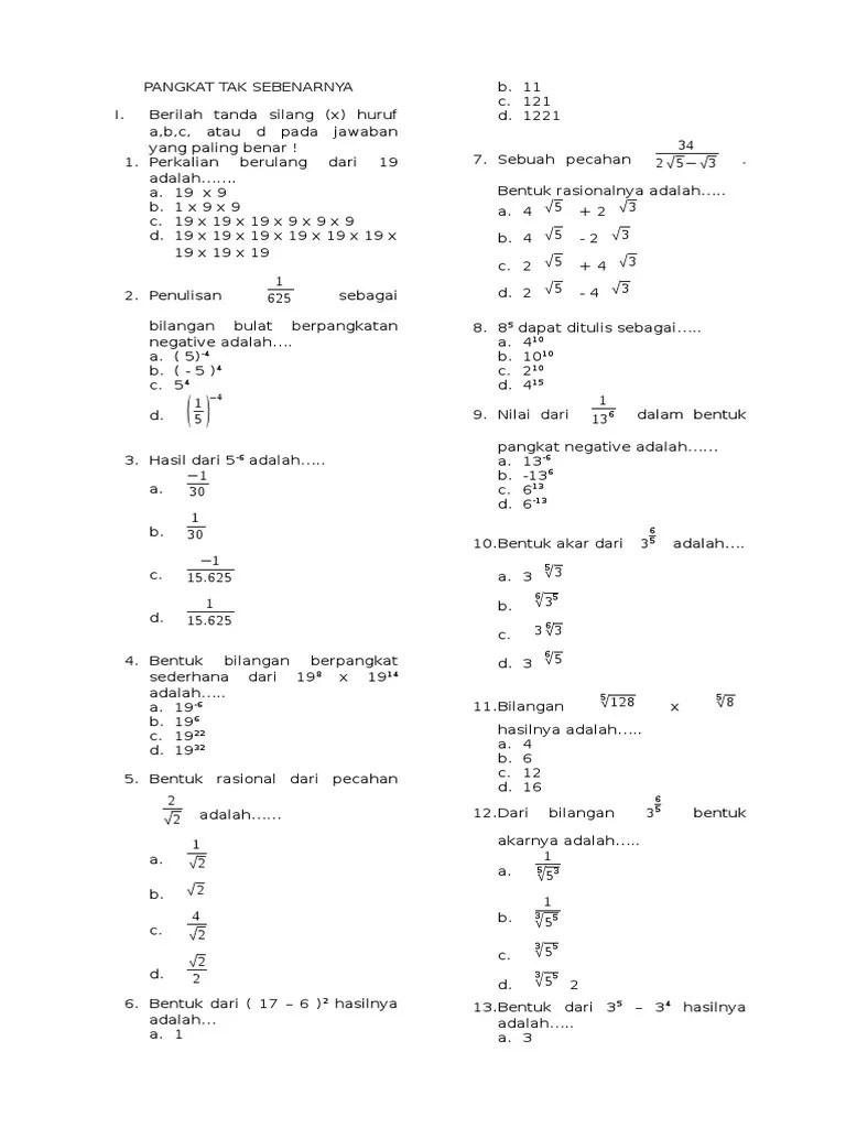 Kumpulan Soal Pangkat Dan Akar Kelas 9 Smp Doc : kumpulan, pangkat, kelas, Ulangan, Perpangkatan, Bentuk, Kelas, Kurikulum, Kunci, Dunia