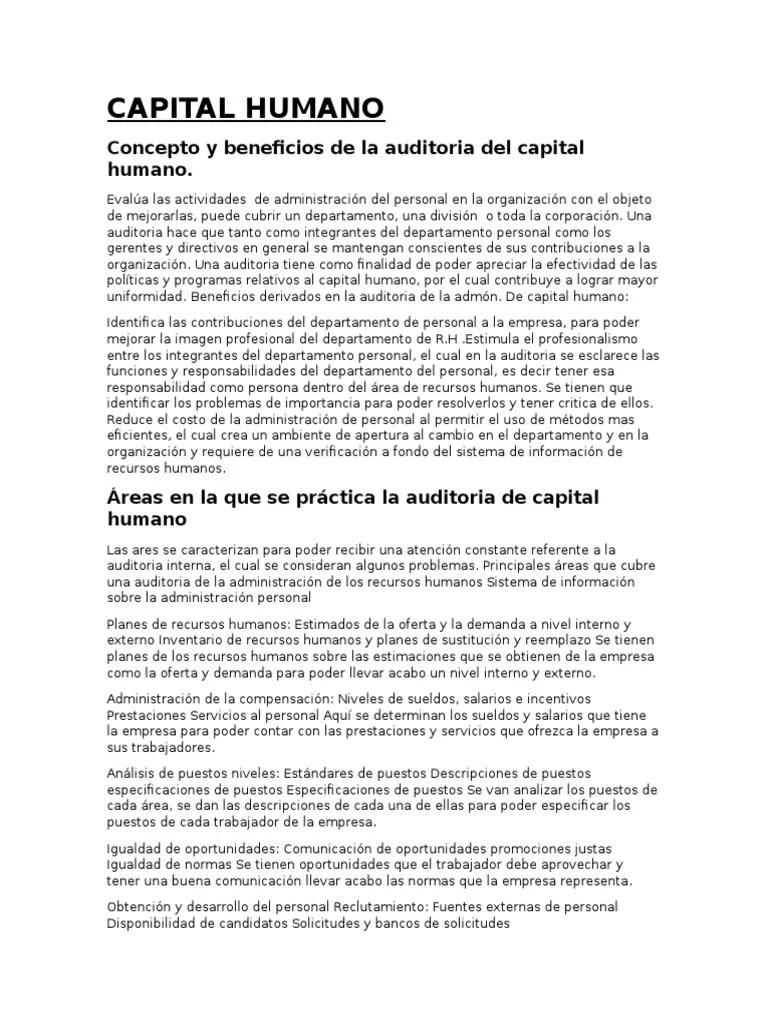 Capital Humano Concepto Y Beneficios De La Auditoria Del