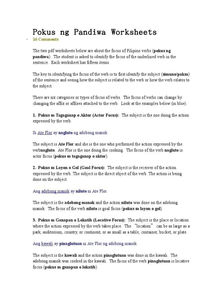 small resolution of Pokus ng Pandiwa Worksheets.doc   Predicate (Grammar)   Verb