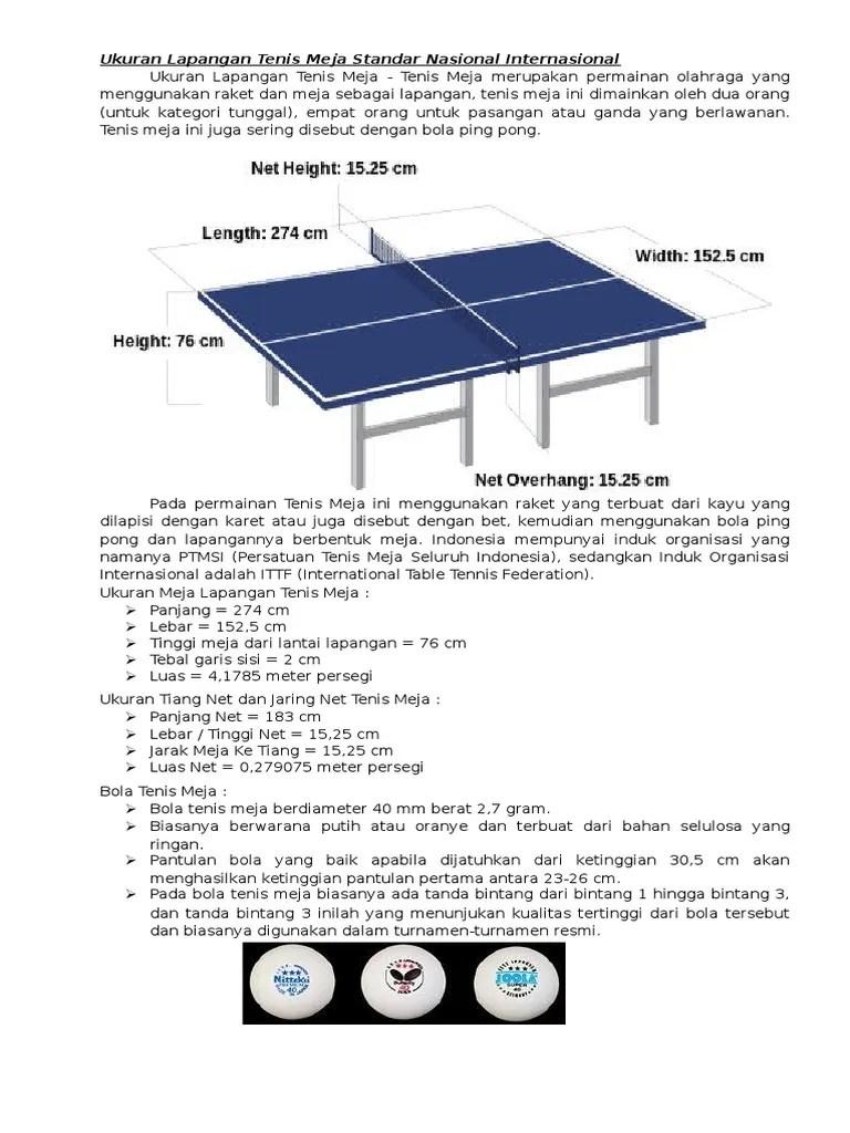 Lapang Tenis Meja : lapang, tenis, Ukuran, Lapangan, Tenis, Standar, Nasional, Internasional