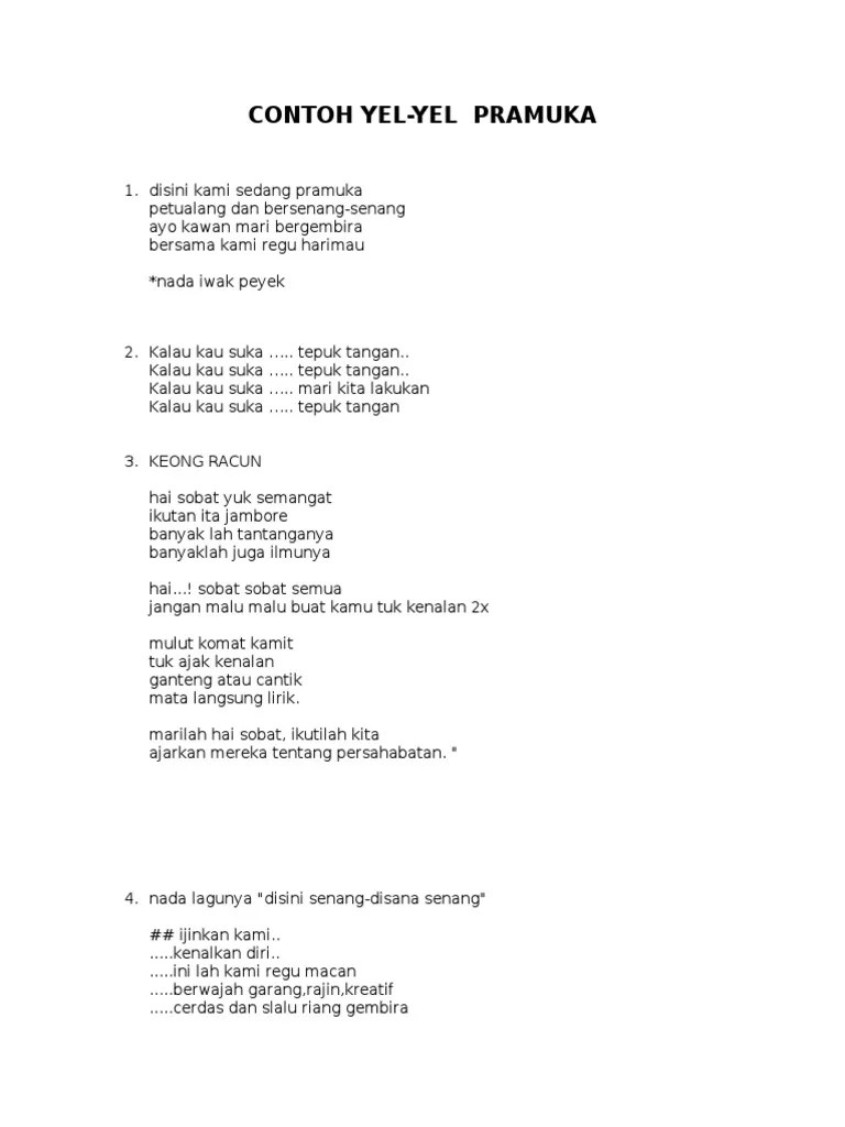 Contoh Lirik Yel Yel Lucu : contoh, lirik, Contoh, Keren, Terbaru