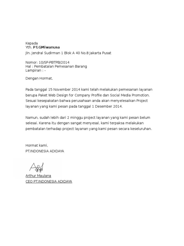 Surat Pembatalan Po : surat, pembatalan, Contoh, Surat, Pembatalan, Pemesanan