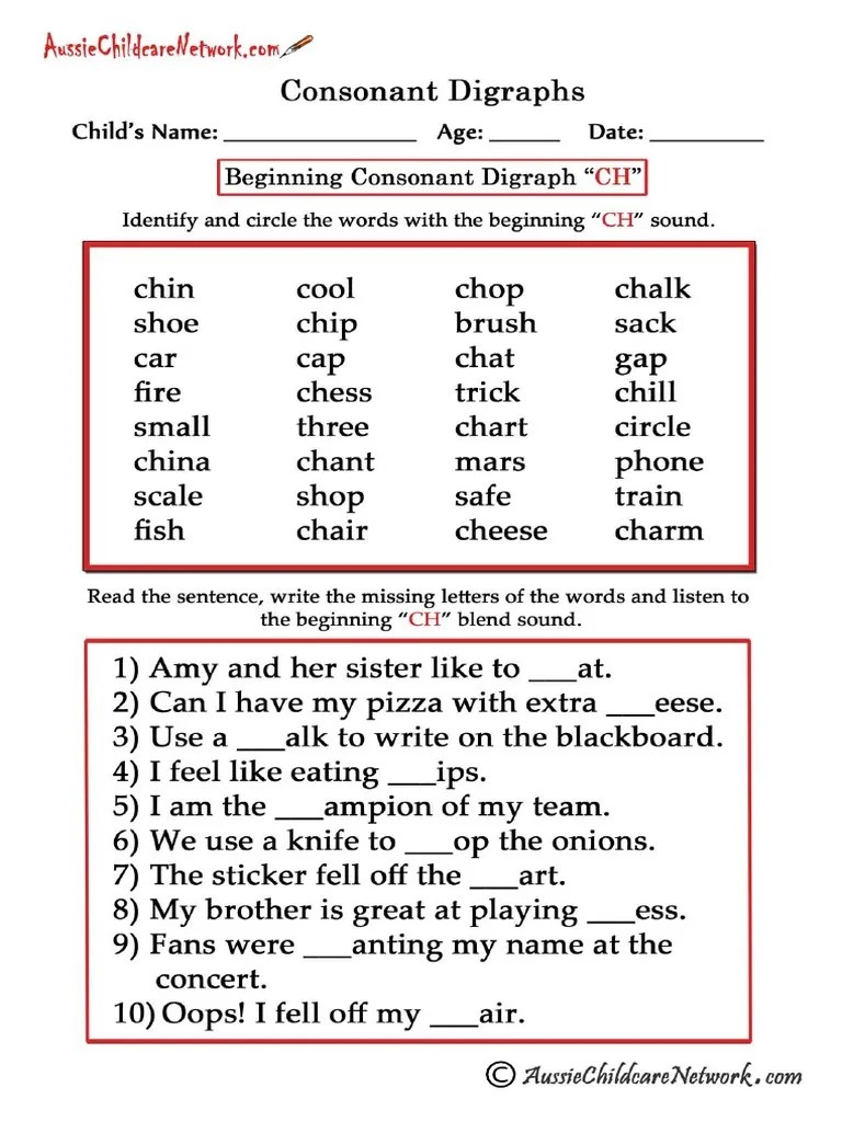Consonant Digraphs Worksheets Beginning Ch [ 1024 x 768 Pixel ]